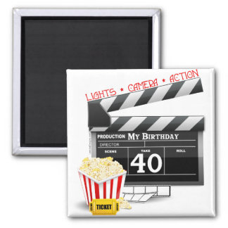 40th Birthday Movie Birthday Party Square Magnet