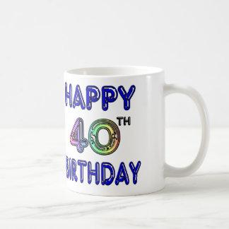 40th Birthday Mug with Ballon Font Basic White Mug