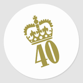 40th Birthday - Number – Fourty Round Stickers