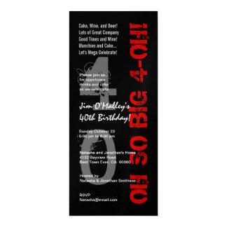 40th Birthday Oh So Big 4 Oh Red Black Metallic 10 Cm X 24 Cm Invitation Card