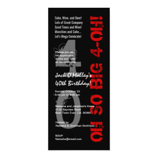 40th Birthday Oh So Big 4 Oh Red Black Tall W1482 10 Cm X 24 Cm Invitation Card