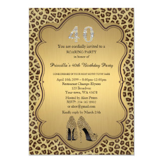 40th,Birthday Party 40th,Cheetah High Heels Shoes Card