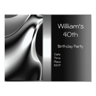 40th Birthday Party Abstract Silver Chrome Metal 11 Cm X 14 Cm Invitation Card