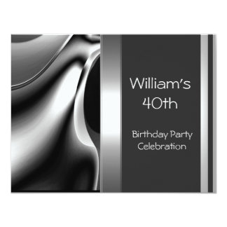 40th Birthday Party Abstract Silver Chrome Metal Card