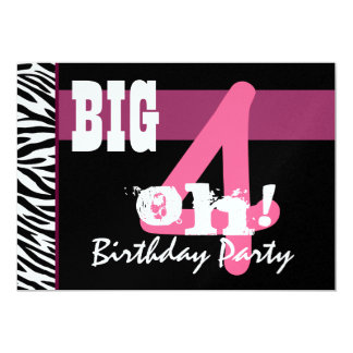 40th Birthday Party - Big 4 Oh Pink Zebra Metallic Card