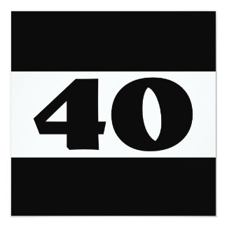 40th Birthday Party Black and White Modern W857 13 Cm X 13 Cm Square Invitation Card