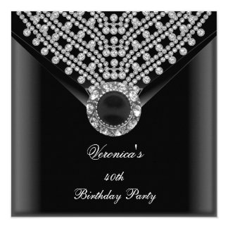 40th Birthday Party Black Diamonds Image Card