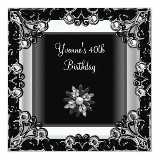 40th Birthday Party Black White Crystal Pearl 13 Cm X 13 Cm Square Invitation Card