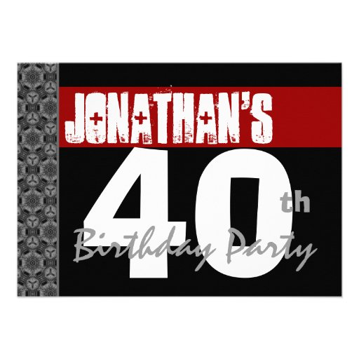 40th Birthday Party Black White Pattern and Red Invitation