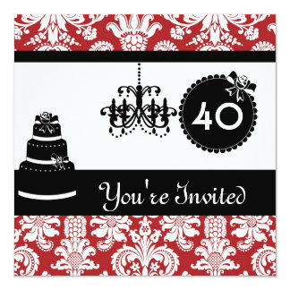 40th Birthday Party Black & White & RED Damask IVI 13 Cm X 13 Cm Square Invitation Card
