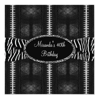 40th Birthday Party Black White Zebra Zipper Card
