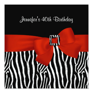 40th Birthday Party Black Zebra Stripe Red Bow 13 Cm X 13 Cm Square Invitation Card