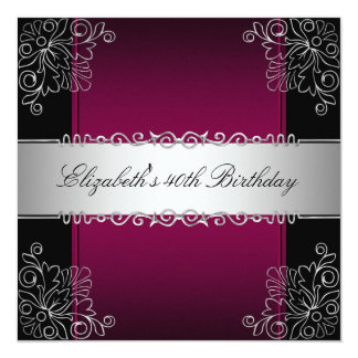 "40th Birthday Party Burgundy Silver Floral Black 5.25"" Square Invitation Card"