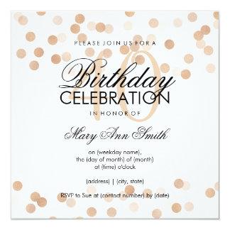 40th Birthday Party Copper Foil Glitter Lights 13 Cm X 13 Cm Square Invitation Card