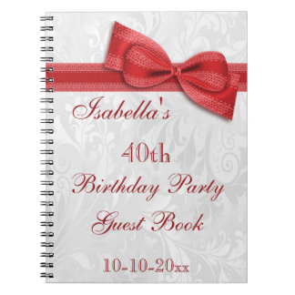 40th Birthday Party Damask and Bow Spiral Notebooks