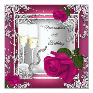 "40th Birthday Party Deep Pink Rose Silver 5.25"" Square Invitation Card"
