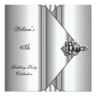 "40th Birthday Party Elegant Mens Silver Grey 5.25"" Square Invitation Card"