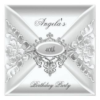 40th Birthday Party Elegant Silver White Jewel 13 Cm X 13 Cm Square Invitation Card
