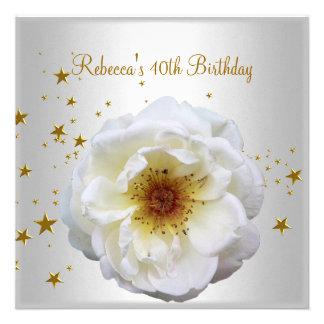 40th Birthday Party Elegant White Yellow Flower Personalized Invitation