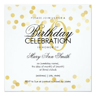 40th Birthday Party Faux Gold Foil Glitter Lights 13 Cm X 13 Cm Square Invitation Card