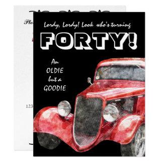40th Birthday Party For Him - Classic Hotrod Car 11 Cm X 14 Cm Invitation Card