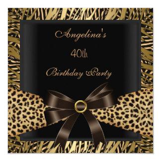 40th Birthday Party Gold Leopard Brown Black 13 Cm X 13 Cm Square Invitation Card