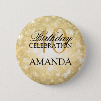 40th Birthday Party Gold Winter Wonderland 6 Cm Round Badge
