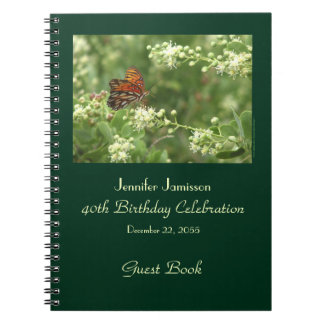 40th Birthday Party Guest Book Orange Butterfly Note Book