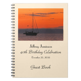 40th Birthday Party Guest Book Sailboat at Sunset Spiral Note Book