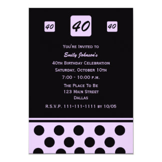40th Birthday Party Invitation 40 in Lavender