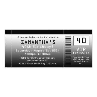 40th Birthday Party Invitation, Black Ticket Card