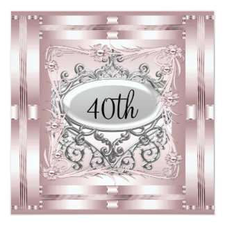 40th Birthday Party Invitation Pink