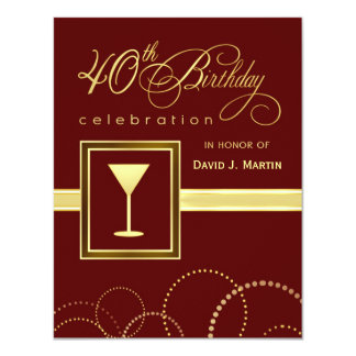 40th Birthday Party Invitations - Burgundy & Gold