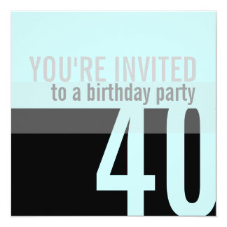 40th Birthday Party Invitations {Light Teal}