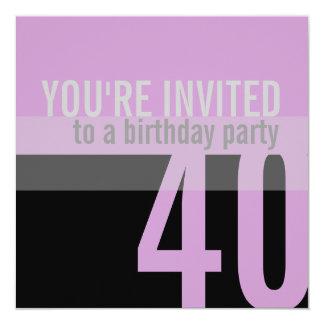 40th Birthday Party Invitations (Purple)