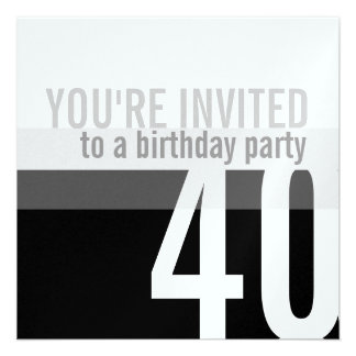 40th Birthday Party Invitations {Silver}