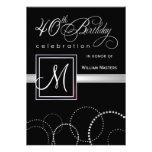 40th Birthday Party Invitations - with Monogram