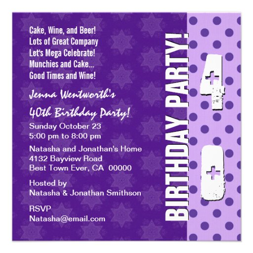 40th Birthday Party Modern Square Template Personalized Announcement