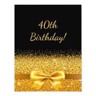 40th birthday party on black with gold bow sparkle card