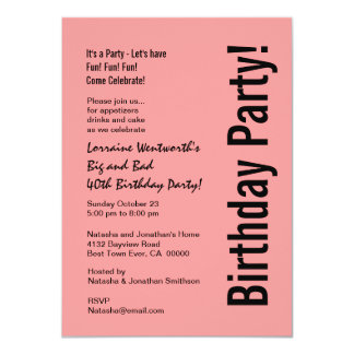 40th Birthday Party Pink and Black Budget V101E 4.5x6.25 Paper Invitation Card