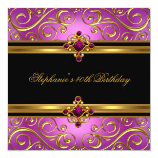 """40th Birthday Party Pink Gold Black Floral 5.25"""" Square Invitation Card"""