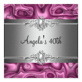 40th Birthday Party Pink Silver Abstract Card