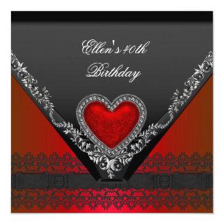 40th Birthday Party Red Heart Jewel Black White 13 Cm X 13 Cm Square Invitation Card