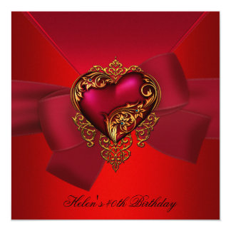 40th Birthday Party Red Pink Heart gold jewel Bow 13 Cm X 13 Cm Square Invitation Card