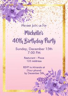 Rose Gold 40th Birthday Invitations   Zazzle com au