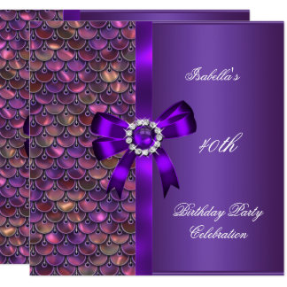 40th Birthday Party Sequins Pink Purple Diamond Card