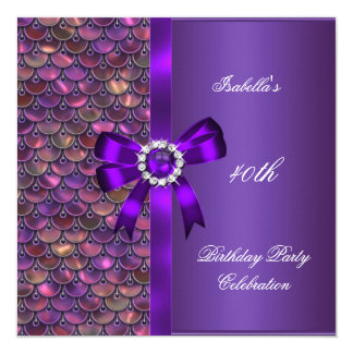 40th Birthday Party Sequins Pink Purple Diamond Card