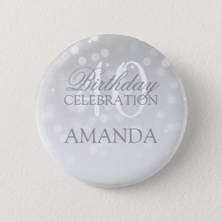 40th Birthday Party Silver Bokeh Sparkle Lights 6 Cm Round Badge