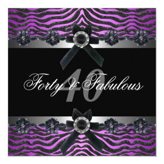 40th Birthday Party Silver Purple Pink Black White Card