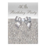40th Birthday Party Silver Sequins, Bow & Diamond Custom Invitation